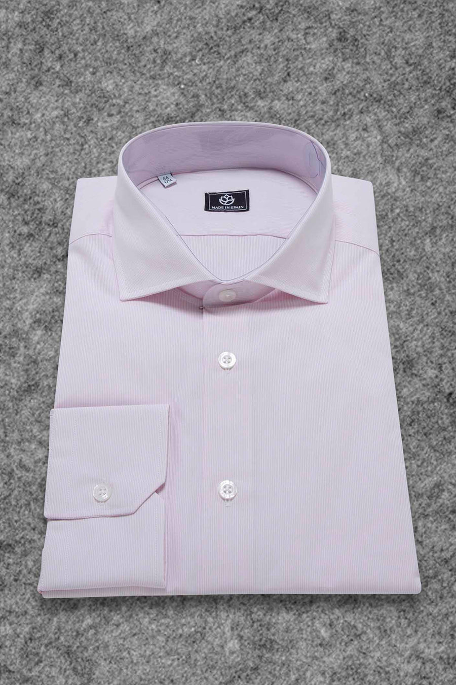 White and Pink Micro Striped Dress Shirt WITHOUT Cufflinks
