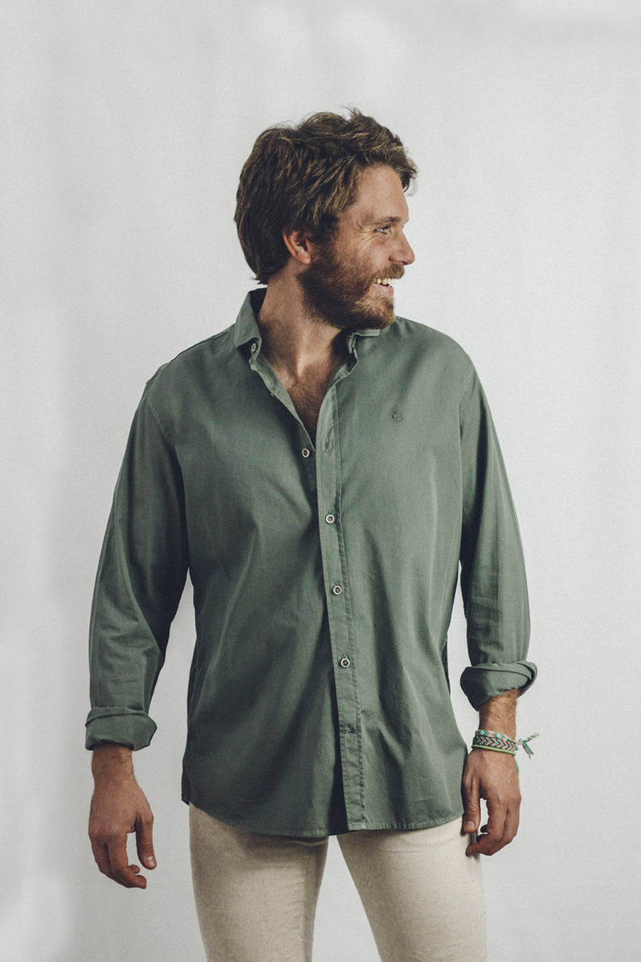 Khaki Green Cotton Shirt