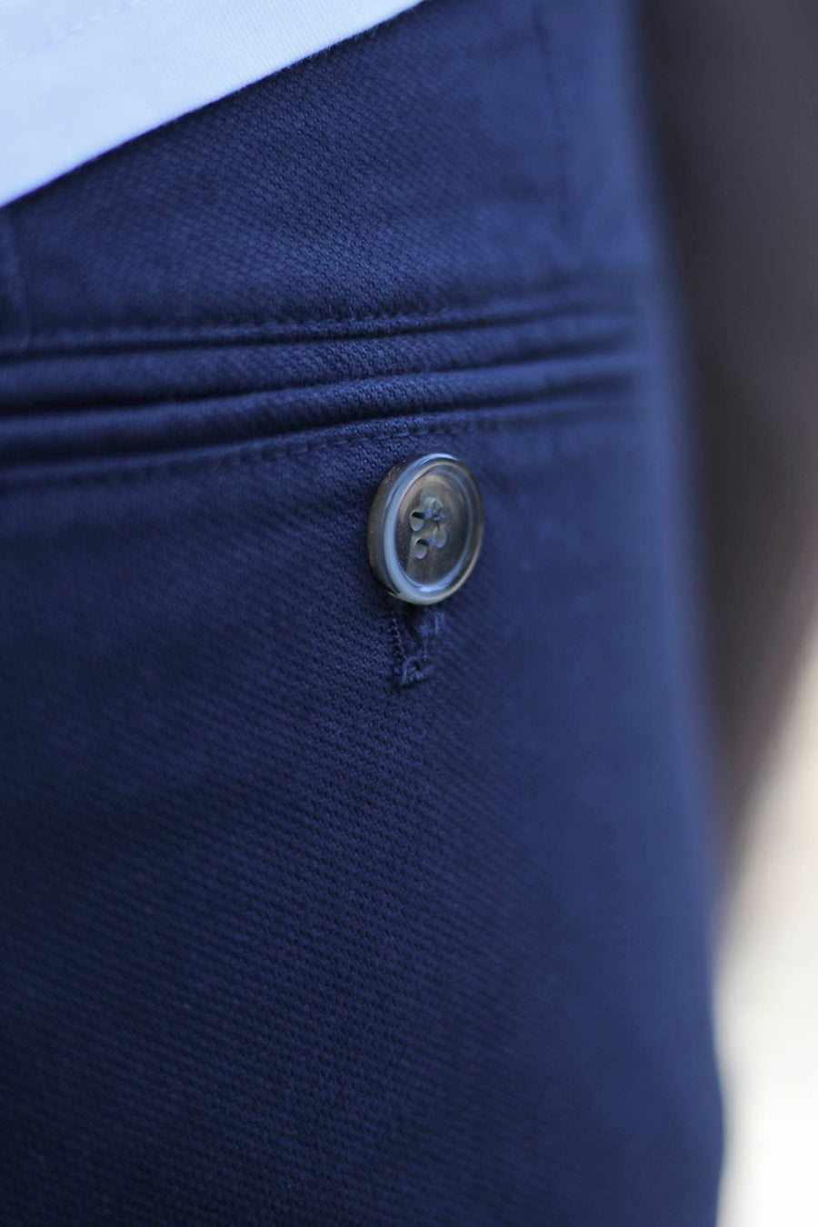 Navy Blue Canvas Woven Chino Pants