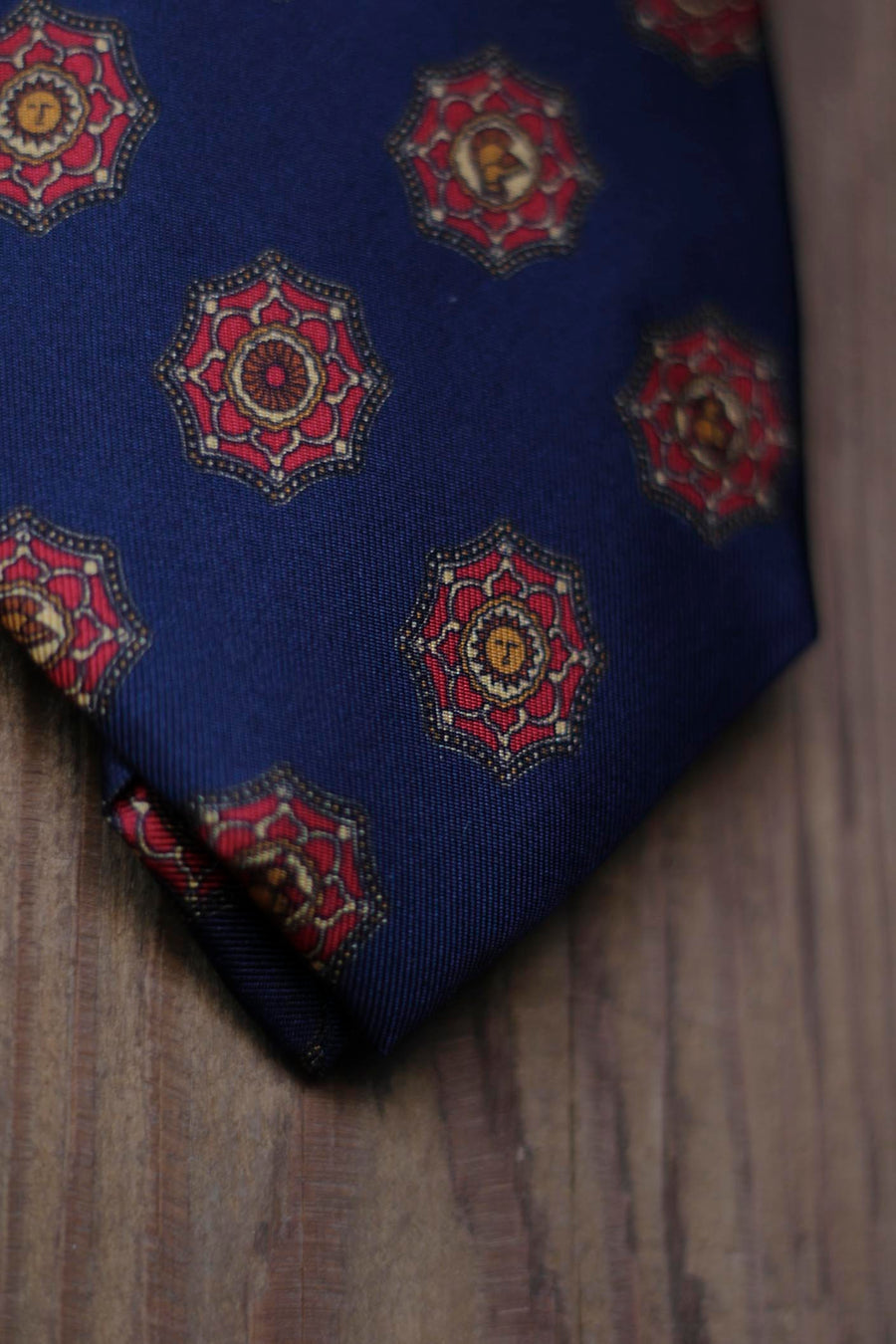 Napoli Silk Tie Navy Blue with Sun and Red and Yellow Shield