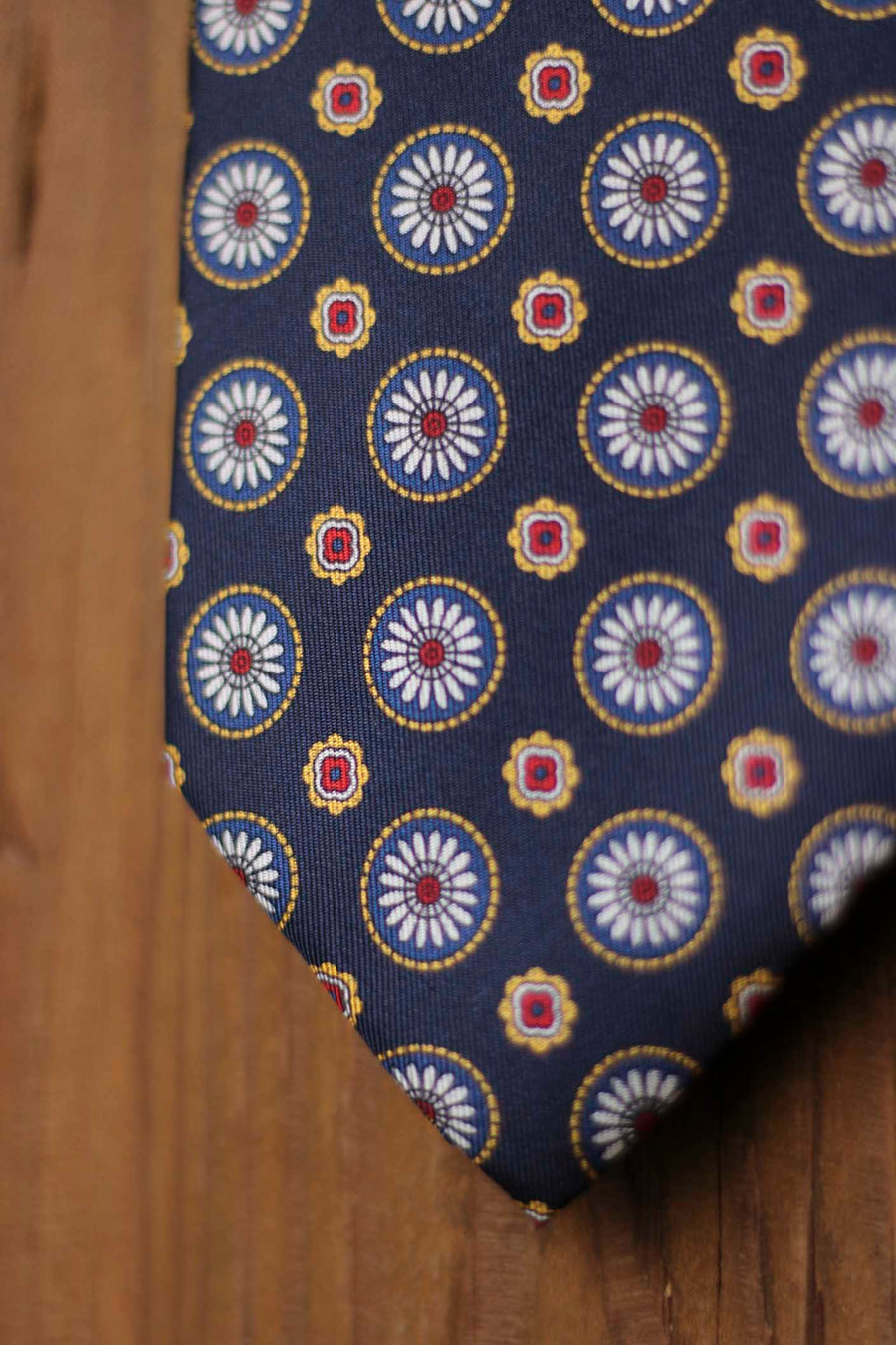 Napoli Navy Blue Silk Tie with Blue, White and Yellow Geometry