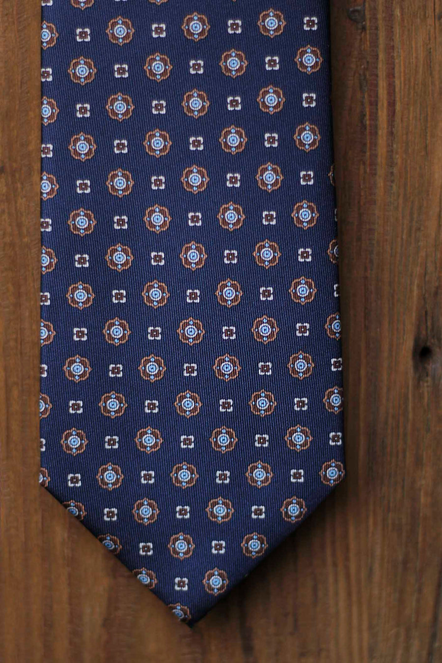 Napoli Silk Tie Navy Blue Geometry Blue, White and Brown