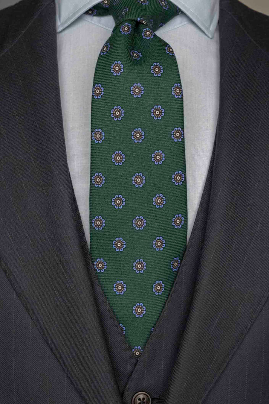 Napoli Bottle Green Wool Tie With Blue Daisies