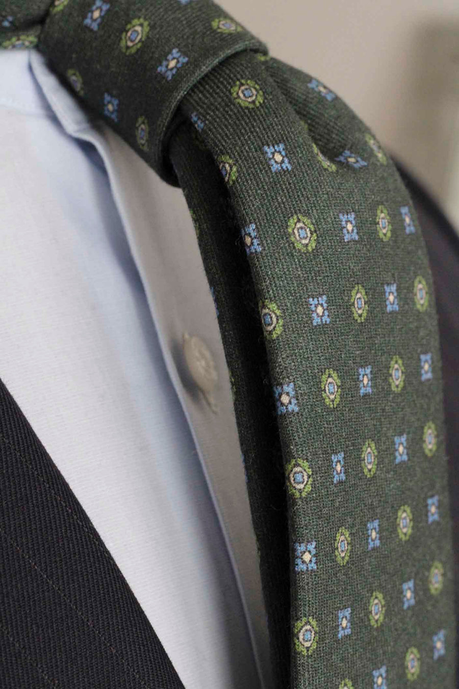 Napoli Green Wool Tie with Shields