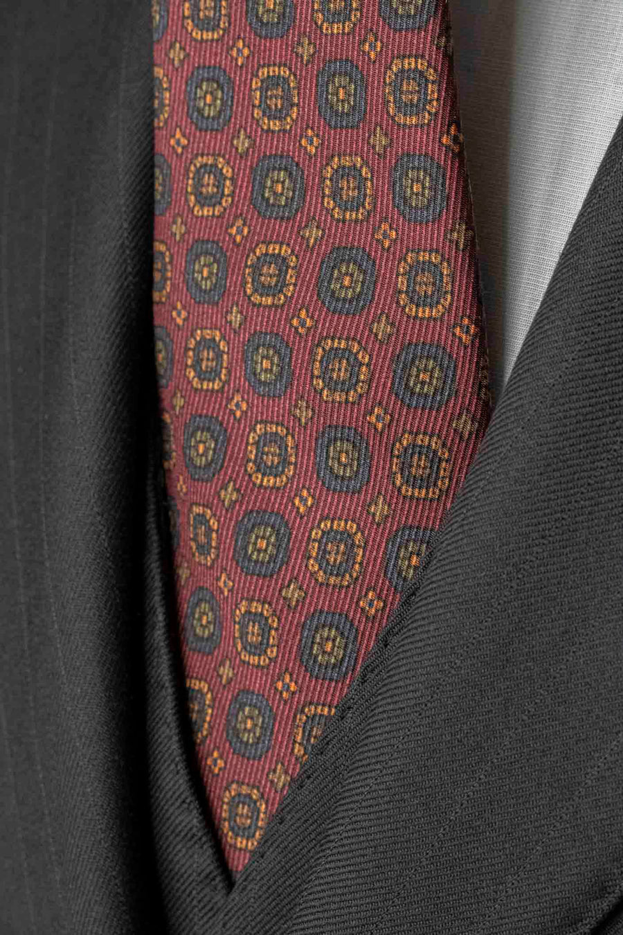 Napoli Burgundy Silk Tie with Medallions