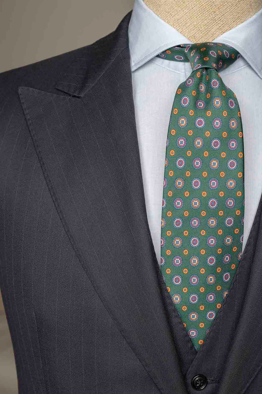 Napoli Green Silk Tie With Circle Pattern