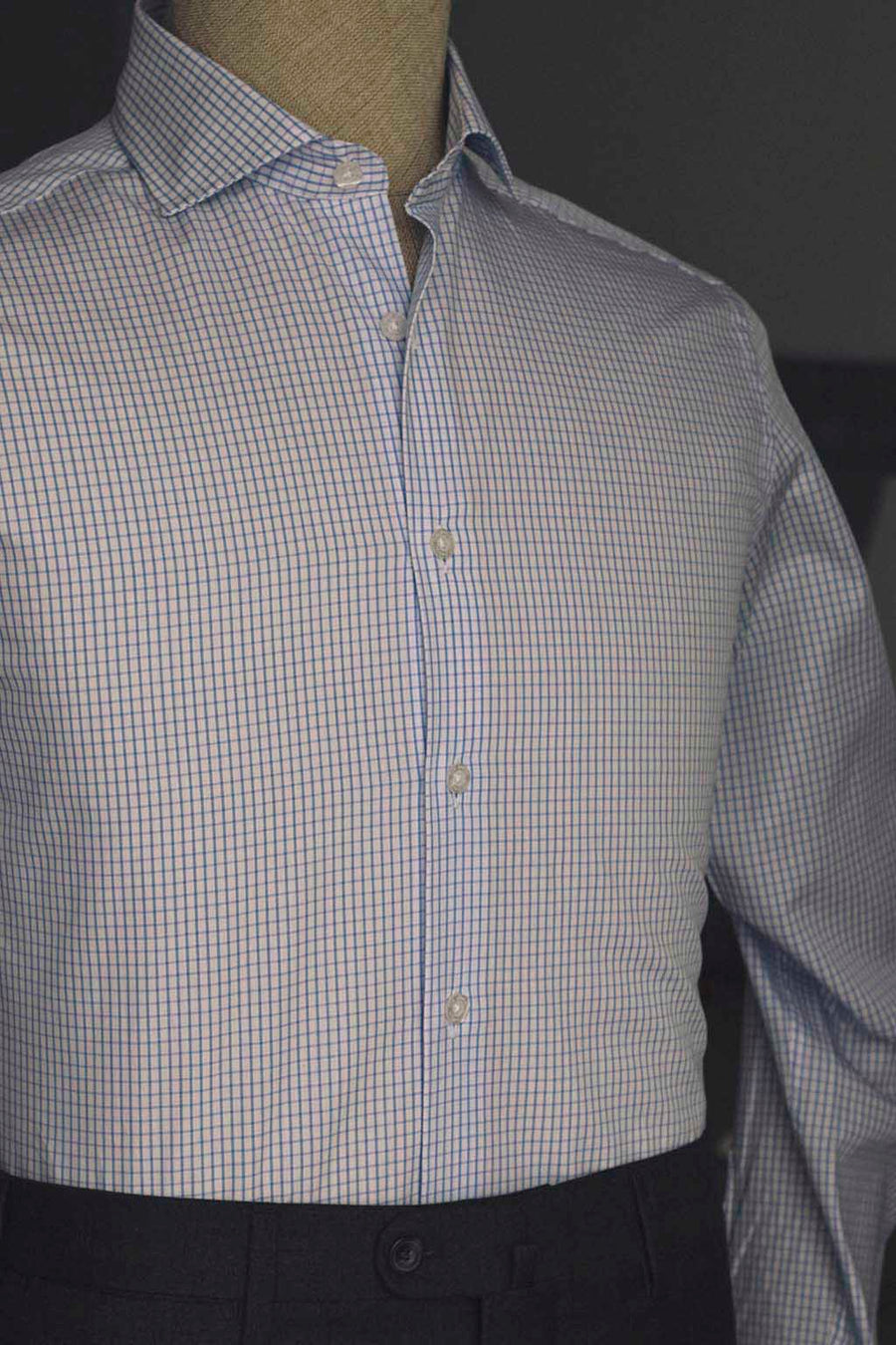 Blue Window Box Dress Shirt Without Cufflinks
