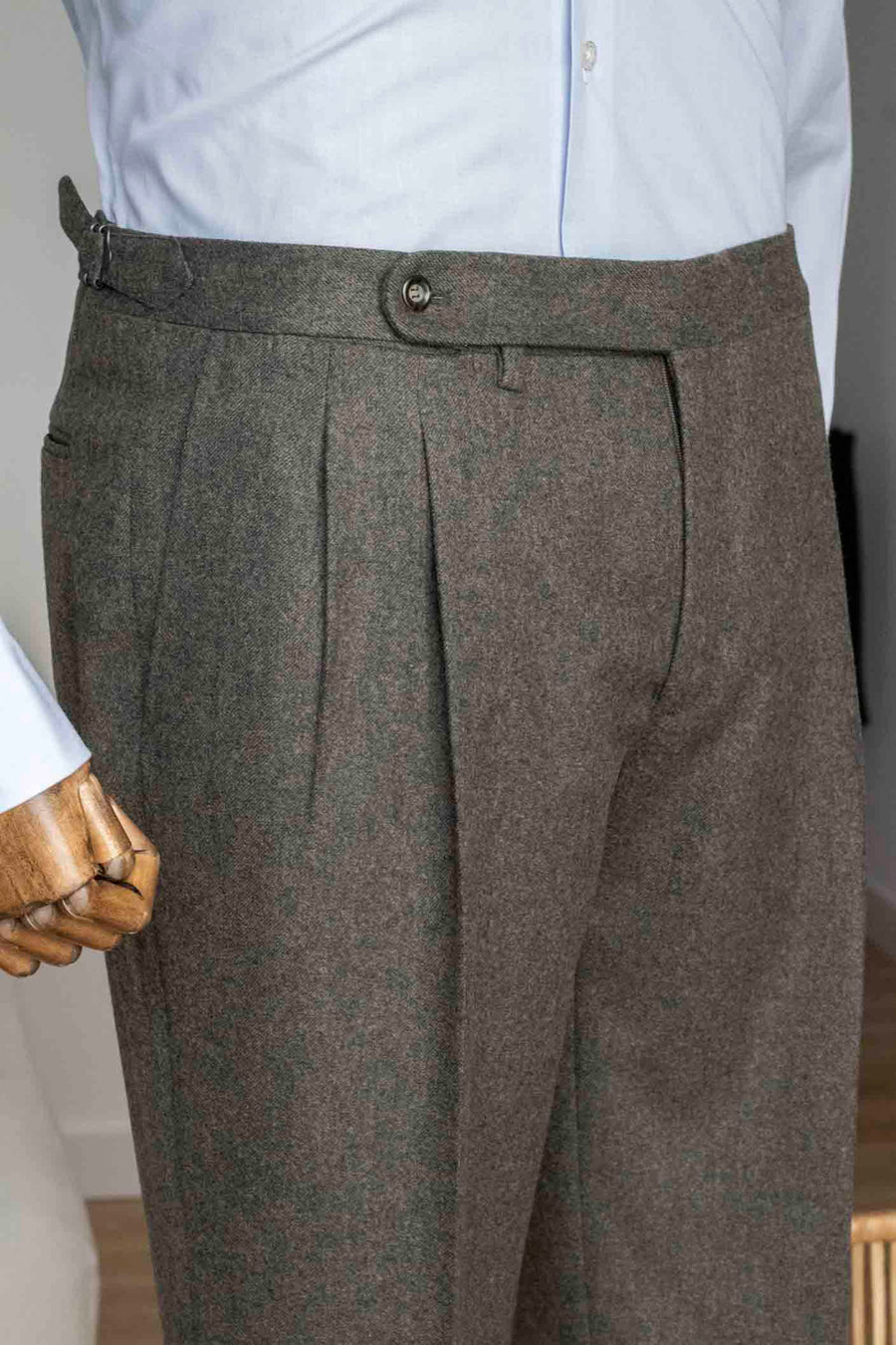 Mahogany Brown Flannel Double Pleated Dress Pants