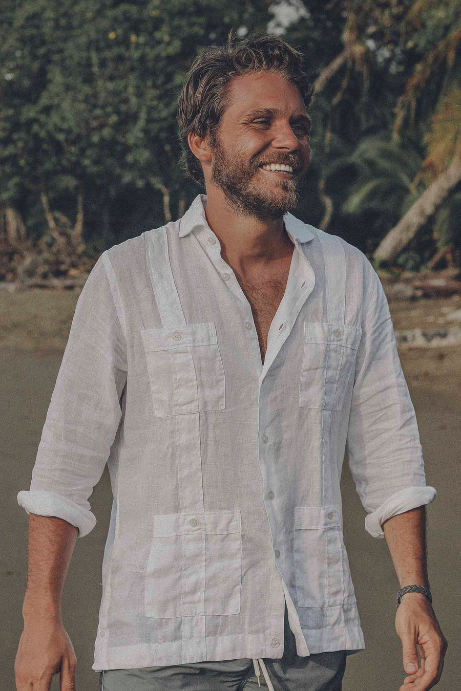 100% White Linen Guayabera with White Buttons