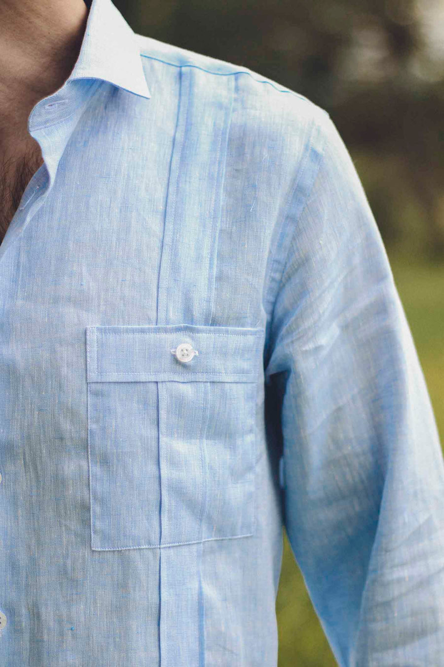 100% Light Blue Linen Guayabera with White Buttons