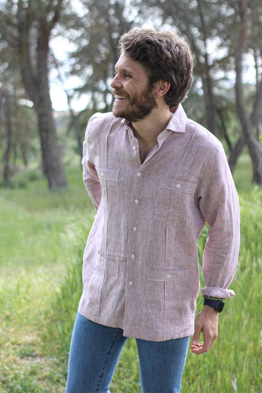 100% Toasted Linen Guayabera with White Buttons