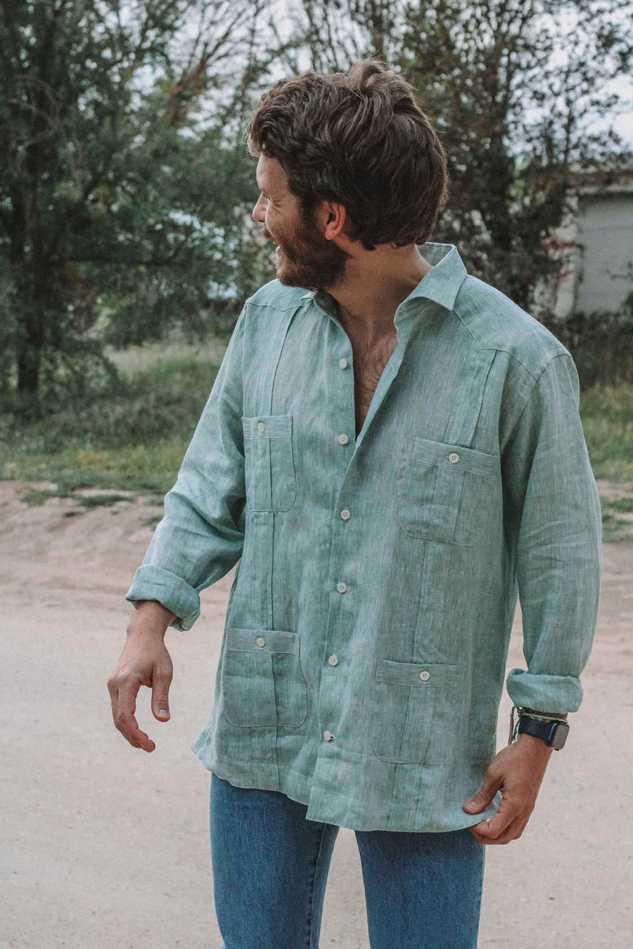 Guayabera 100% Green Linen Sea Foam