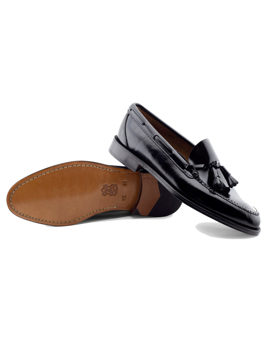 Black High Shovel Moccasin with Tongue