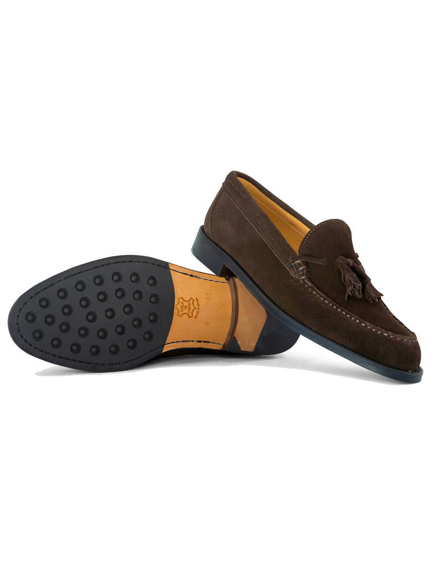 High-Top Brown Suede Moccasin with Tongue