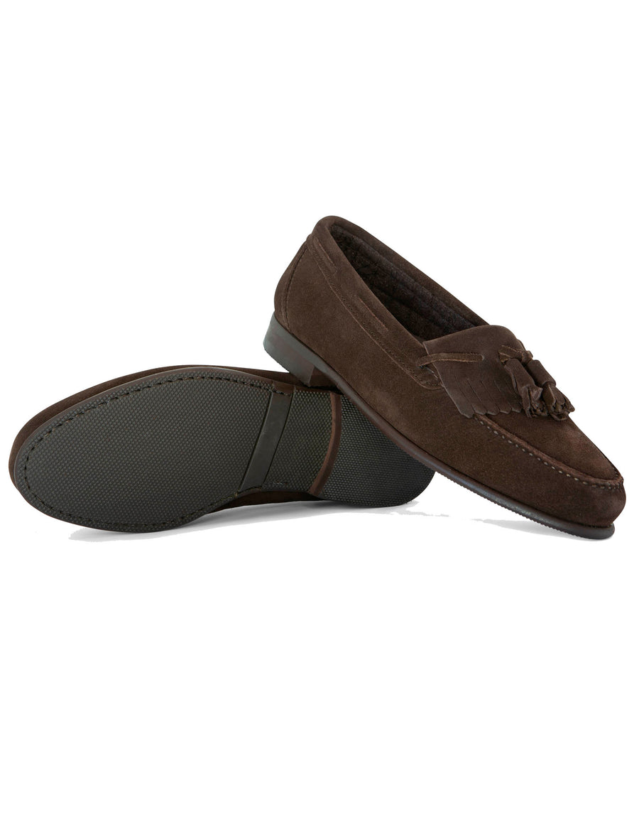 Low Shovel Brown Suede Moccasin