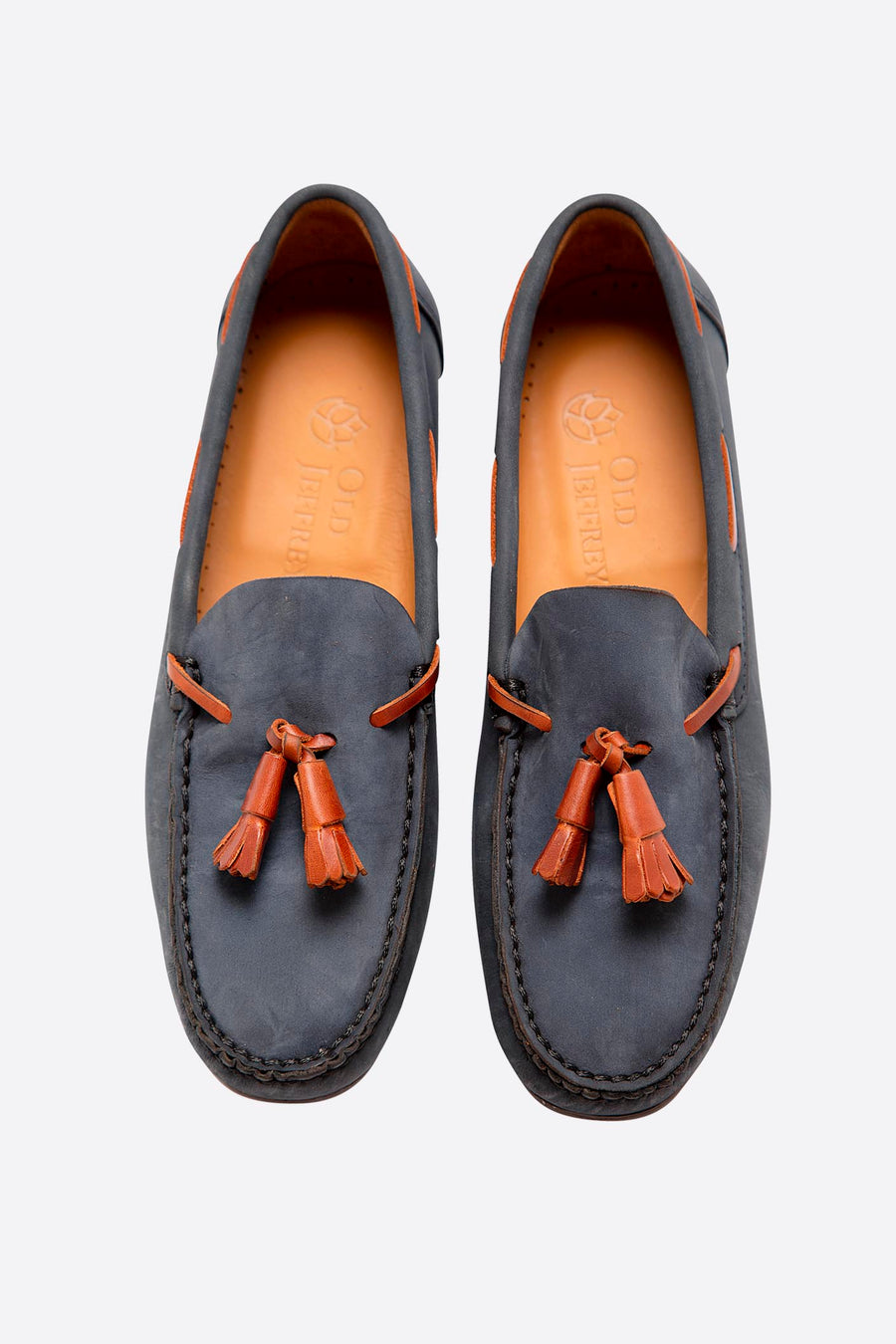 Blue Nubuck Moccasin with Fringes and Flexible Sole