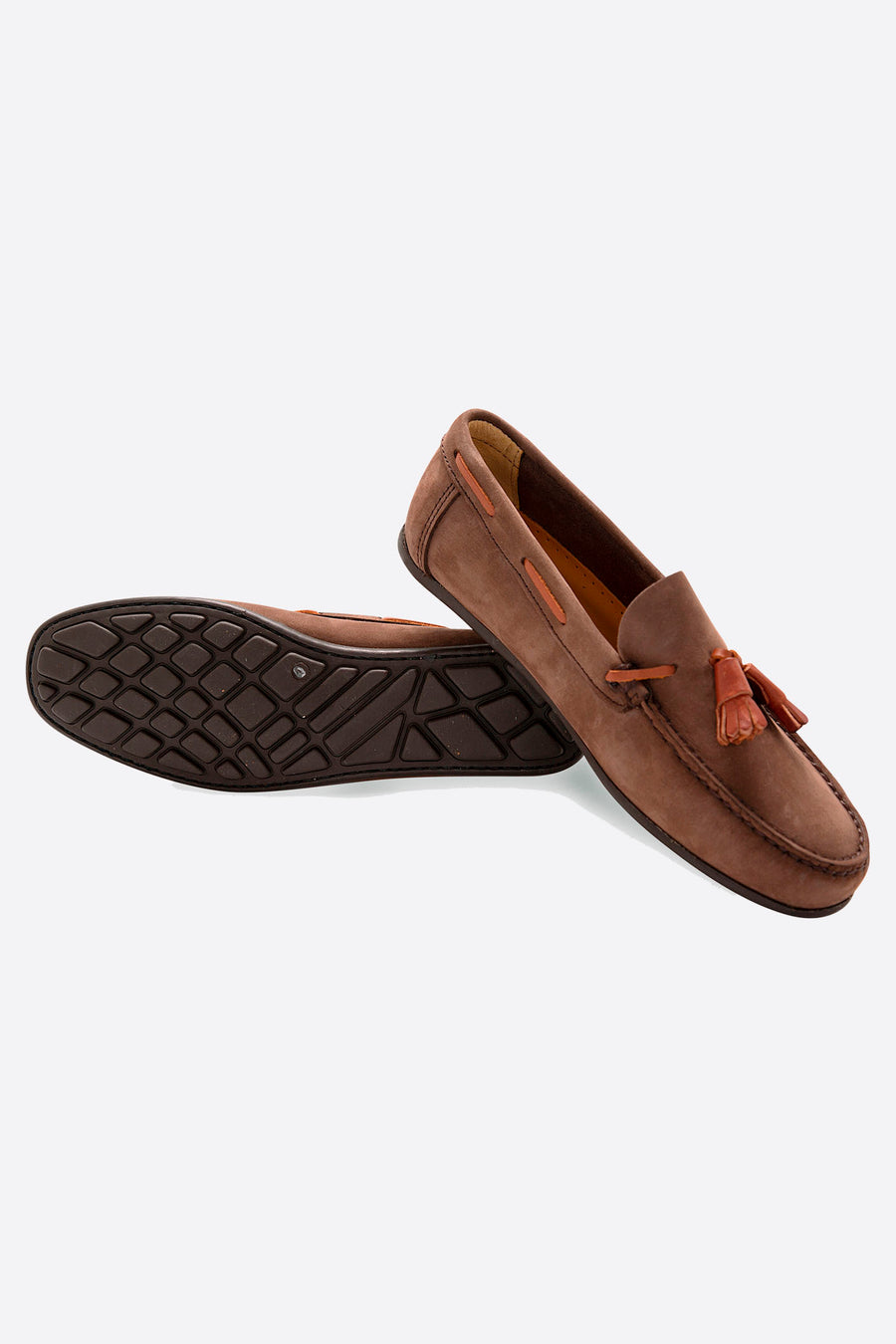Brown Nubuck Moccasin with Fringes and Flexible Sole