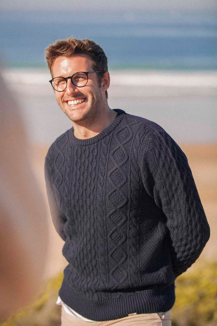 Cable Knit Jumper Navy blue