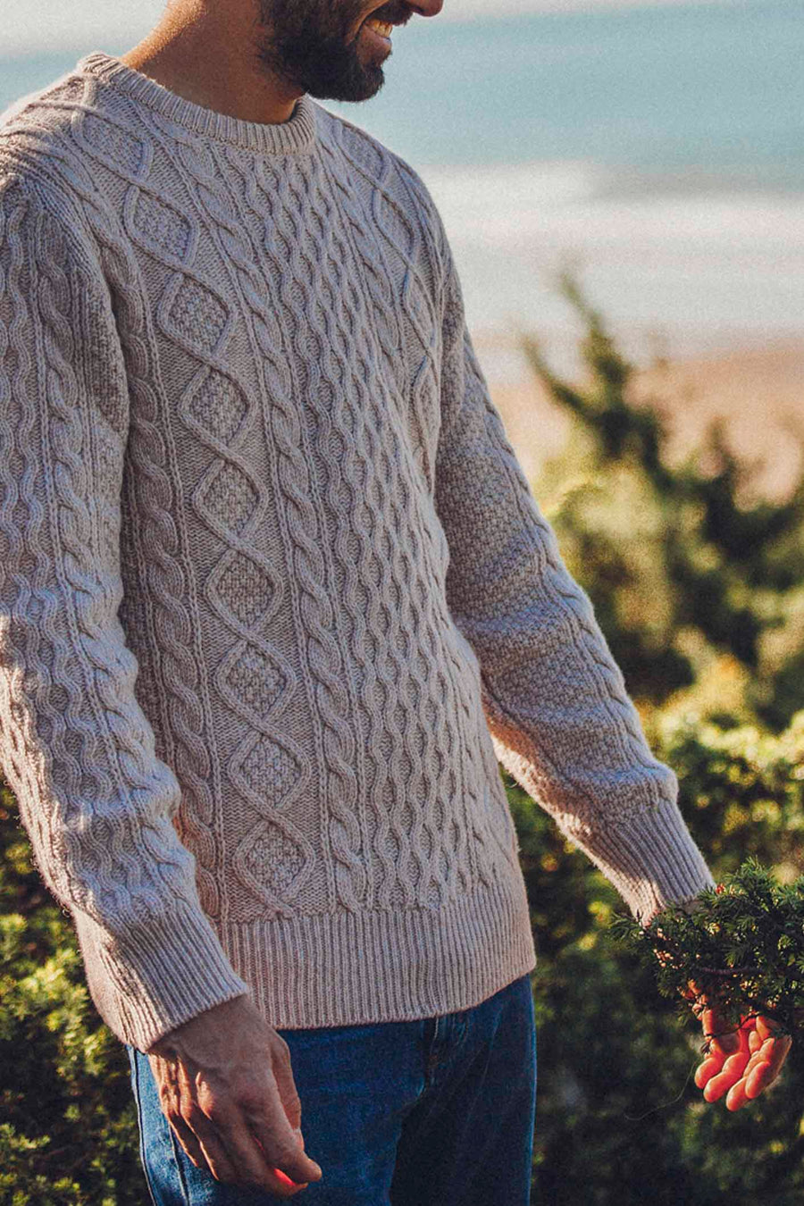 Worn Bone Wool Cable Sweater
