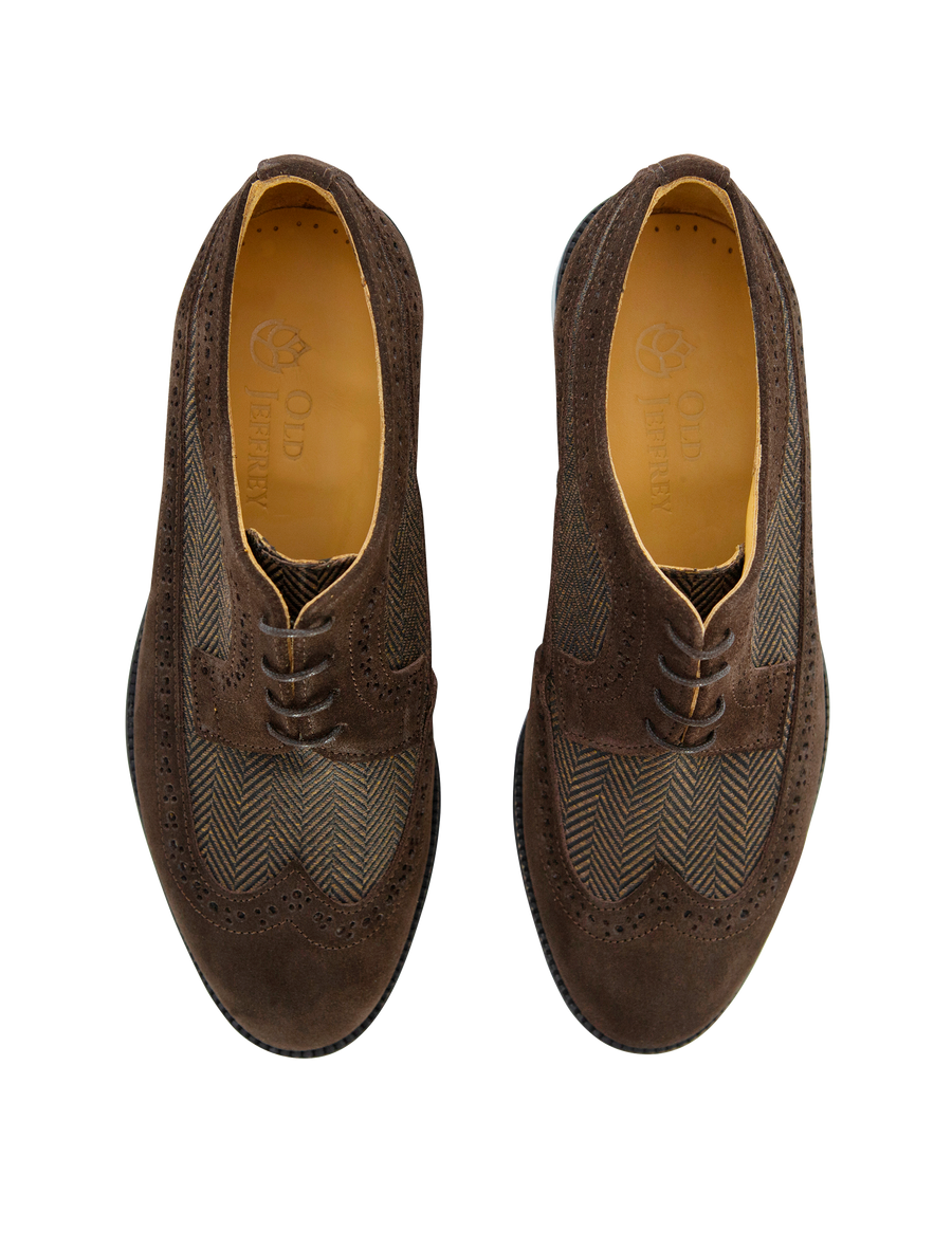 Brown Suede Oxford with Herringbone