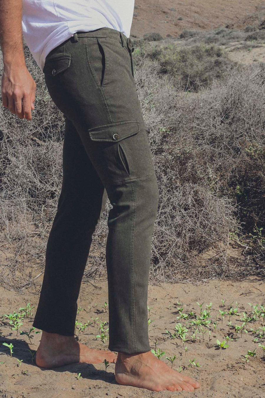 Cargo Canvas Kaki Trousers