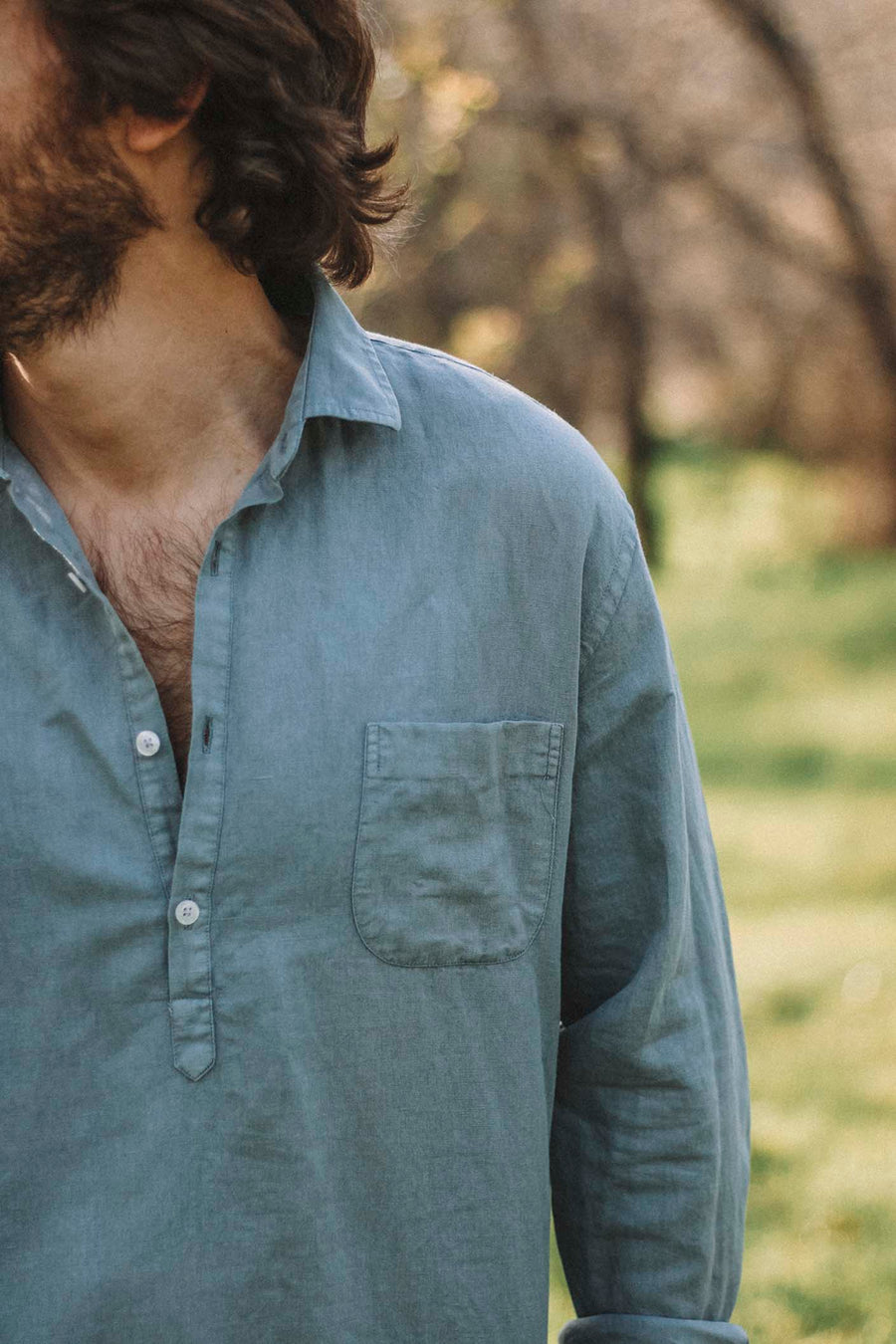 Distressed Grayish Blue Linen T-Shirt