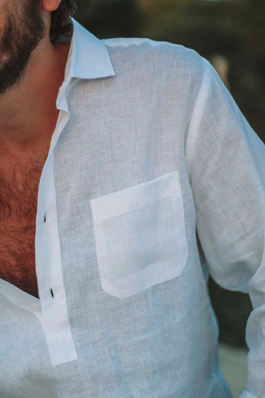 White Linen Pocket T-Shirt