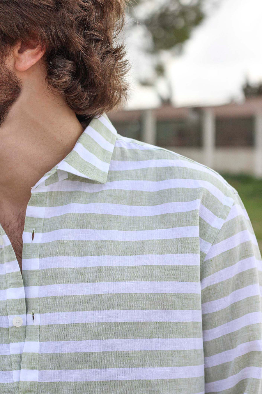 Horizontal Bamboo Green Striped Linen T-shirt