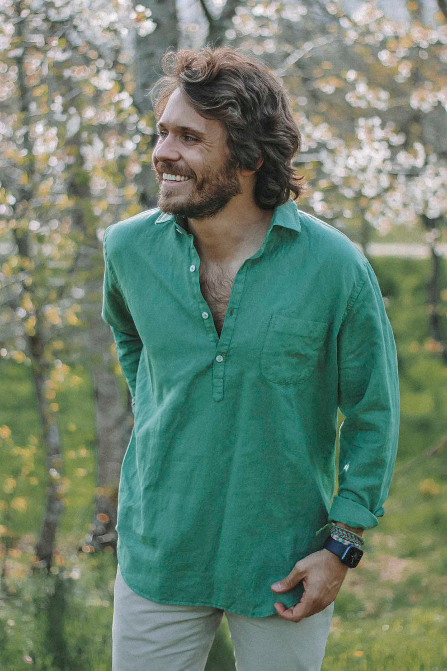 Worn Grass Green Linen T-Shirt