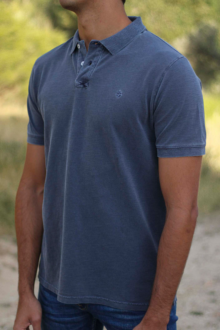 Distressed Hague Blue Gray Polo