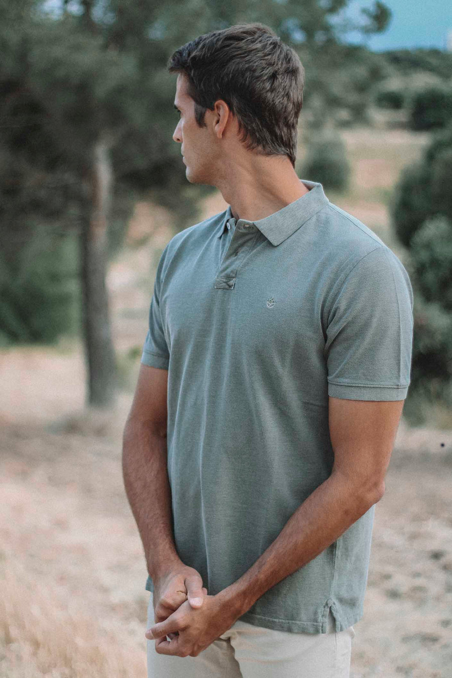 Distressed Dry Olive Green Polo