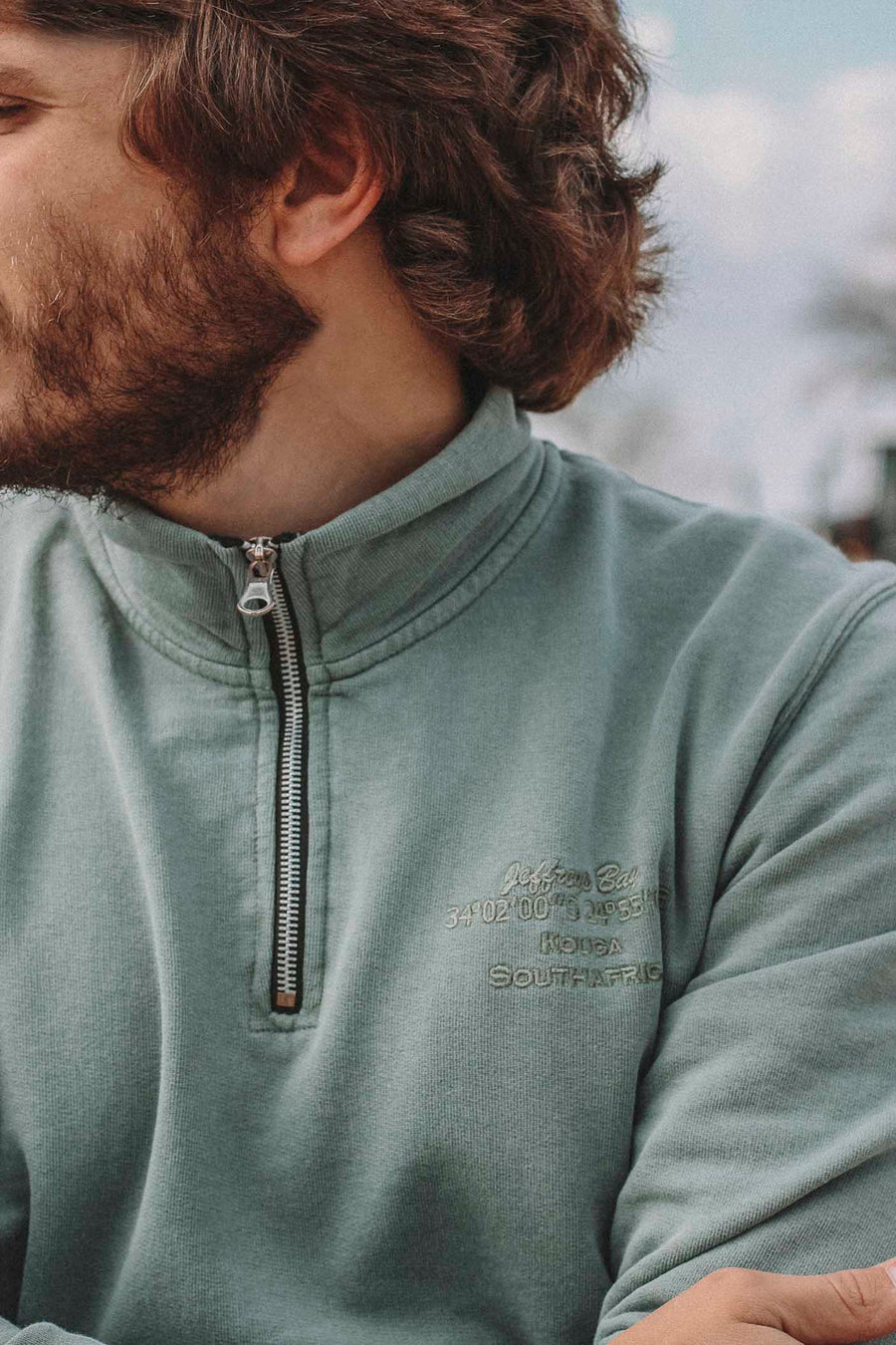 Faded Pale Green Turtleneck Sweatshirt