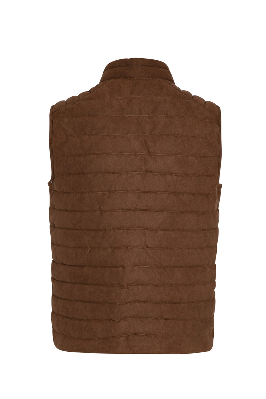 Mocha Brown Quilted Suede Touch Vest