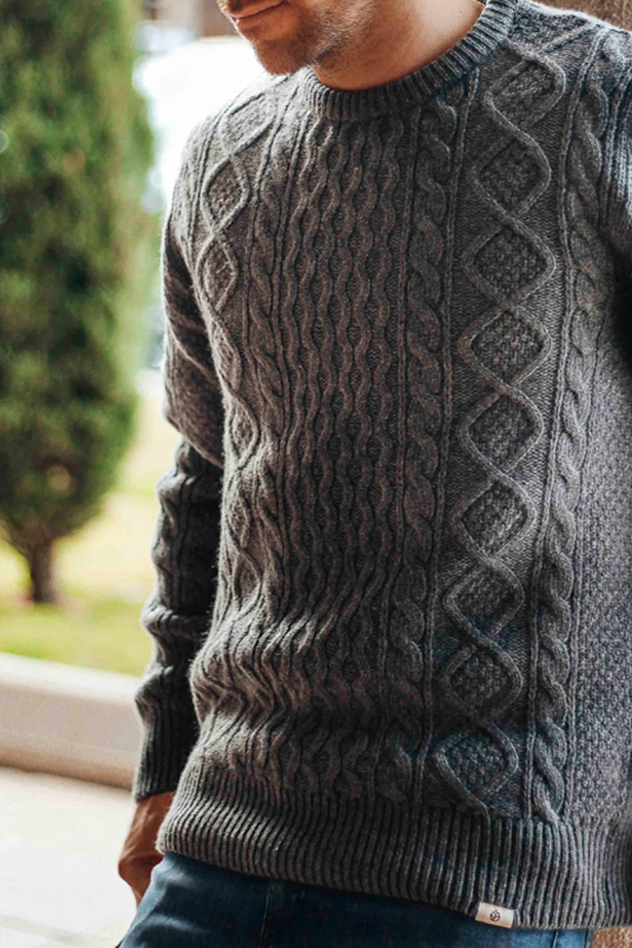 Wool Cable Sweater Wolf gray
