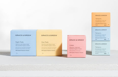Grace & Green | Grace and Green Organic & Eco Friendly period products | Nourished | biologische tampons | Natuurlijke tampons | tampons van biologisch katoen
