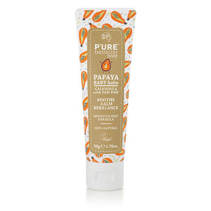 PURE Papaya Care Baby Balm, PURE Papaya Care Baby Oil, PURE Papaya Care Baby Head to Toe Wash, PURE Papaya Care Baby Lotion. 100% Natural and Vegan Baby Care for the sensitive skin.