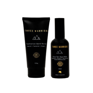 Three Warrior, Three Warrior Fake Tanning, Face Tan, Face Tan Aqua Mist, Zelfbruiner, Natuurlijke zelfbruiner, Natural Fake-tan, Gradual Tan, Fake-Tan Mousse, Made in Australia, face and body tan, holiday, Three Warriors, Nourished