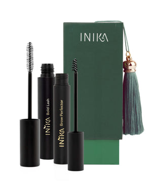 Sultry Eyed Gift Set - Bold Lash Mascara | Vegan Mascara | Natuurlijke Mascara - Brow Perfector - Brow Gel - Wenkbrauw Gel - Natuurlijk wenkbrauw serum -  INIKA Organic - Nourished - Moroccan Holiday Collection