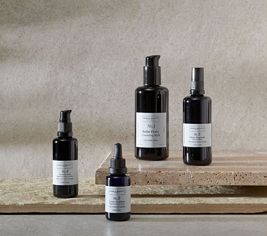Edible Beauty core four cleans skincare, edible beauty australia, no1 cleansing milk, no 2. toning mist, no 3. Ageless serum, no 4. hydrating lotion, natural skincare, natuurlijke huisverzorging.