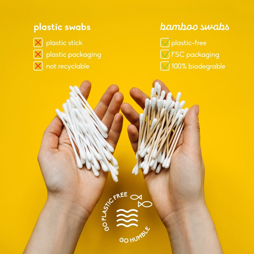 Bamboo Cotton Swabs 100-pack, bamboe wattenstaafje, bamboo cotton swab, wattenstaafjes, the humble co, nourished