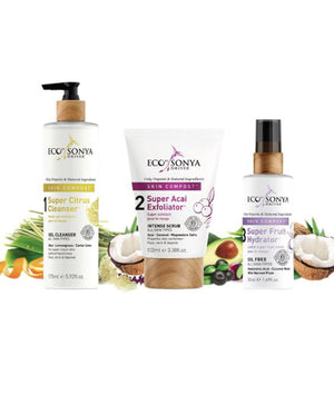 Eco Tan by Sonya Driver, Eco Tan, Eco Tan Super Acai exfoliater, SKIN COMPOST 3 STEP SKINCARE SYSTEM, eco tan SUPER CITRUS CLEANSER, eco tan Super fruit Hydrator, Nourished, Nourished Nederland, Face Tan water, Natuurlijke Fake Tan.