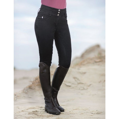 HKM Velluto High Waisted Black Denim Breeches NEW! [In Stock]