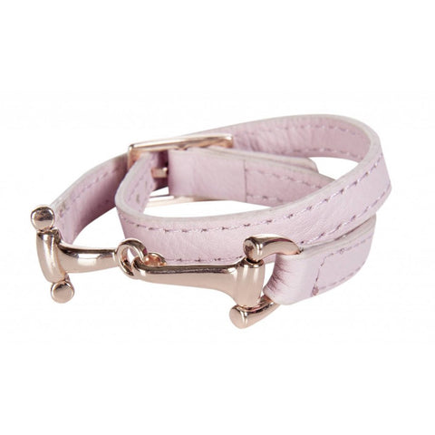 Rose & Rose Gold Bit Leather Bracelet
