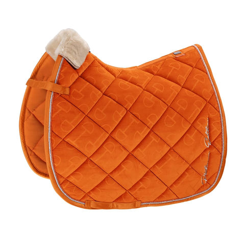 Eskadron Platinum Velvet Stamp Saddle Pad - Vermillion Orange