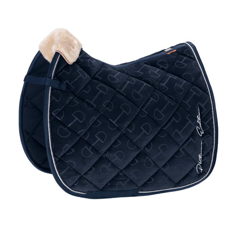 Eskadron Platinum Velvet Stamp Saddle Pad - Navy Blue