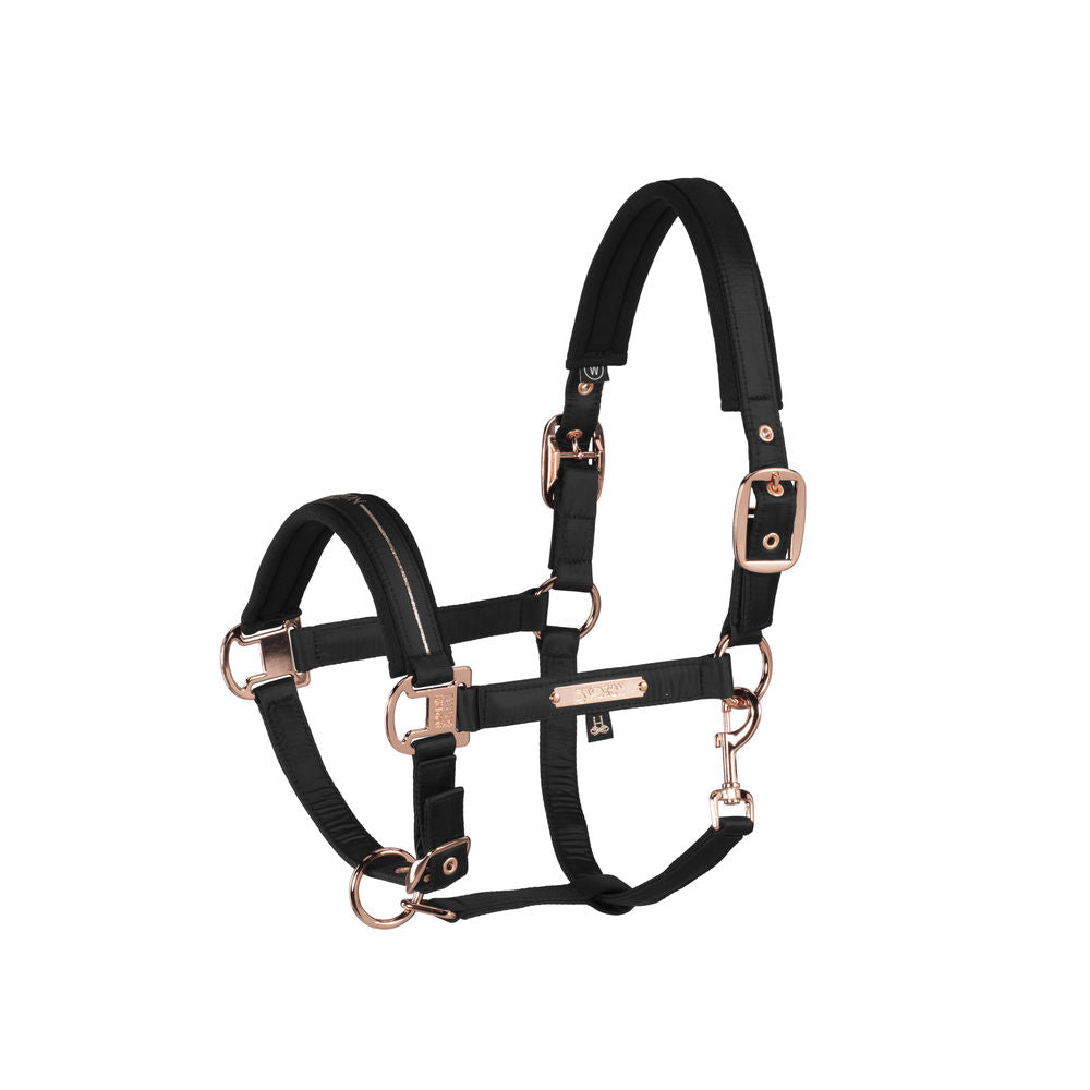 Eskadron Heritage Glossy Double Pin Halter Black & Rose Gold