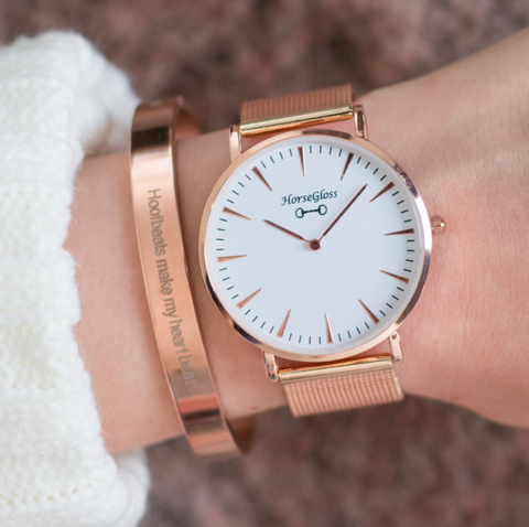 HorseGloss Classic Bit Watch Rose Gold Mesh