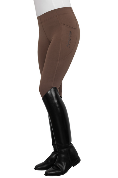 HorseGloss Technical stretch leggings full seat silicone Chocolate