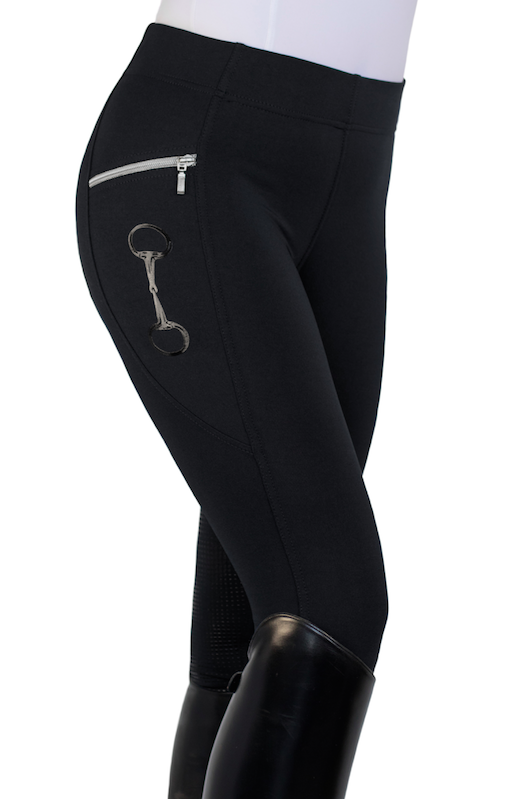 HorseGloss Technical Stretch Leggings Full Seat Silicone Black XL