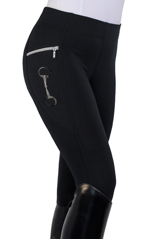 HorseGloss Technical Stretch Leggings Full Seat Silicone Black